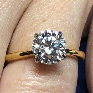FIRM-2ct D, VVS1 Moissanite Ring - (gold)